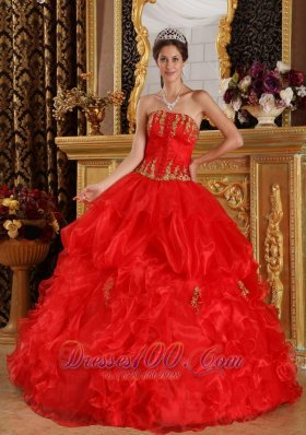 Sweet 16 Dress Red Appliques Organza Plus Size