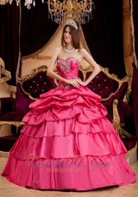 Hot Pink Appliques Quinceanera Dress Plus Size Taffeta