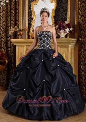 Plus Size Beading Taffeta Black Quinceanera Dress