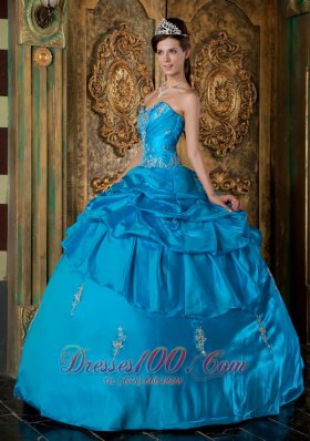 Sweetheart Sky Blue Quinceanera Dress Taffeta Appliques