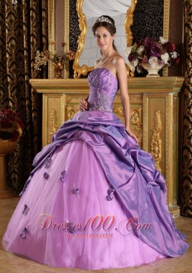 Taffeta Lavender Ball Gown Beading Sweet sixteen Dresses
