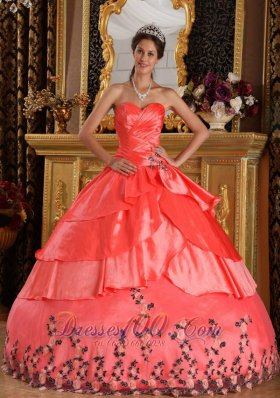 Watermelon Red Ball Gown Taffeta Appliques Dress for 16