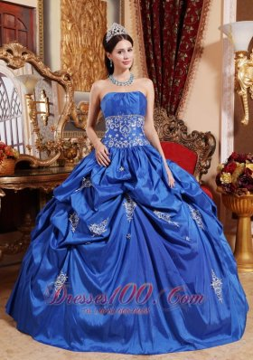 Appliques Blue Ball Gown Taffeta Quinceanera Dress Plus Size