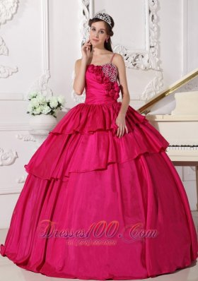 Straps Hot Pink Taffeta Beading Quinceanera Dress