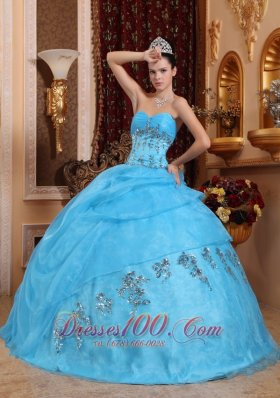 Sweetheart Organza Aqua Blue Quinceanera Dress Beading