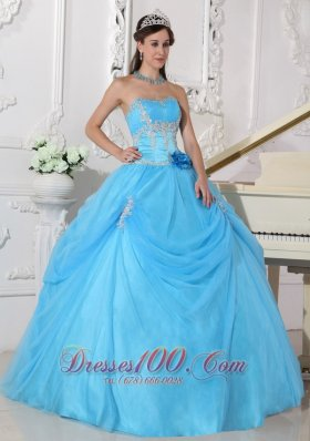 Aqua Quinceanera Dress Taffeta and Organza Appliques Flowers