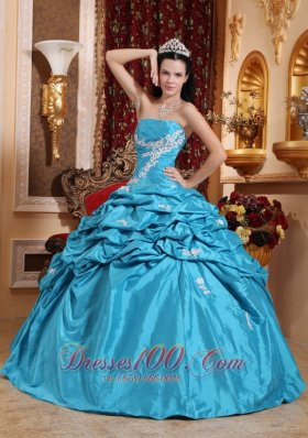 Taffeta Appliques Ball Gown Aqua Blue Quinceanera Dress