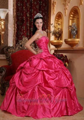 Taffeta Beading Plus Size Hot Pink Quinceanera Dress
