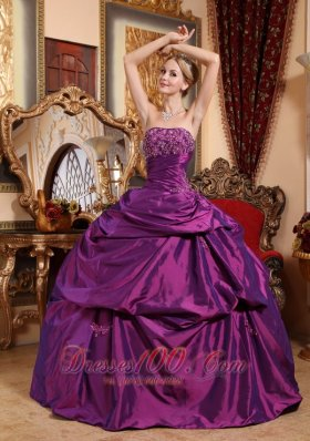 Eggplant Purple Sweet 16 Dress Taffeta Beading and Appliques