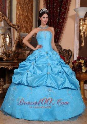 Aqua Blue Quinceanera Dress Taffeta and Organza Beading