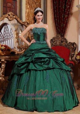 Emerald Green Sweet 15 Dresses Taffeta Beading Ball Gown