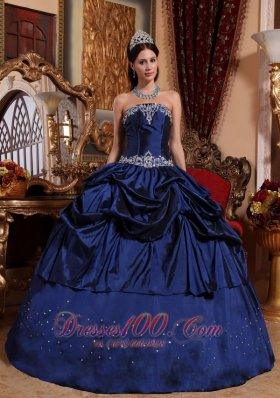 Blue Taffeta Beading With Pick-ups Quinceanera Dress