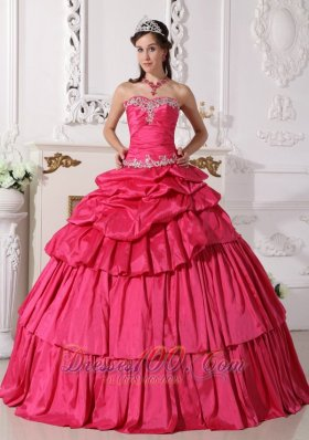 Hot Pink Taffeta Beading and Ruch Quinceanera Dress