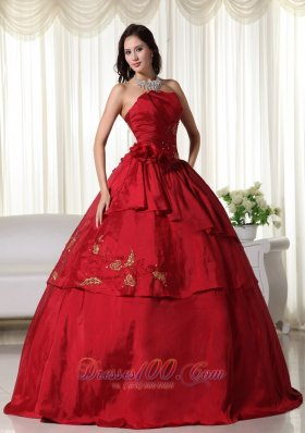 Hand Flowers and Beading Wine Red Taffeta Dresses 15