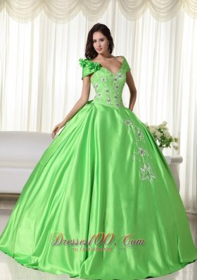 Off the Shoulder Taffeta Embroidery Green Quinceanera Dress
