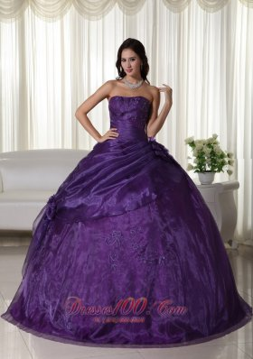 Strapless Purple Ball Gown Tulle Beading Quinceanera Dress