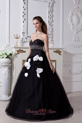 Black Sweet 16 Dress Beading and Hand Made Flowers Organza