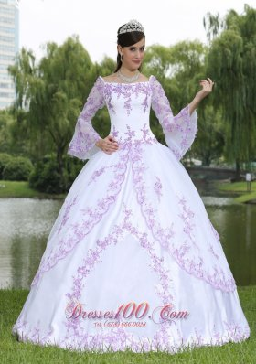 Embroidery Long Sleeves Sweet 16 Party Dress With Square Neckline