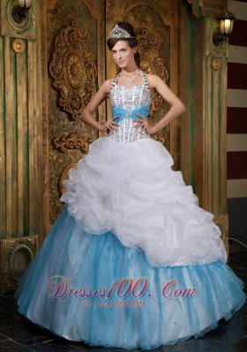 Halter White and Blue Princess Beading Quinceanera Dress