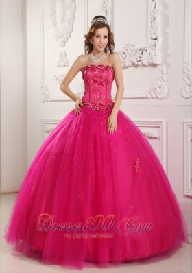 Beading Tulle Hot Pink Dresses for A Quinceanera