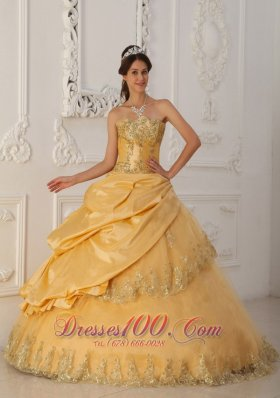 A-Line Beaded Gold Quinceanera Dress Taffeta and Organza