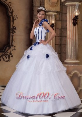 One Shoulder White Ball Gown Satin and Tulle Flowers Dress