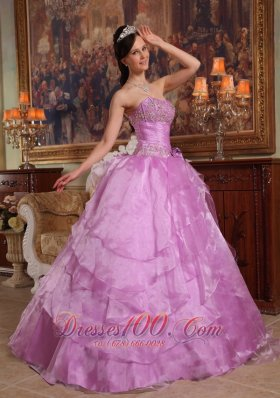 Lavender Beading Ball Gown Organza Sweet 15 Dresses
