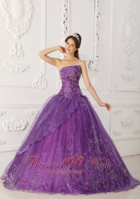 Satin and Organza Beading Purple Quinceanera Dress