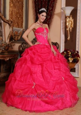 Sweetheart Coral Red Quinceanera Dress Organza Beading