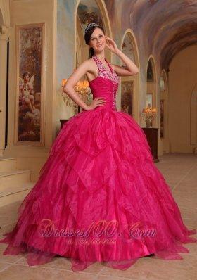 Organza Embroidery Halter Hot Pink Sweet sixteen Dresses