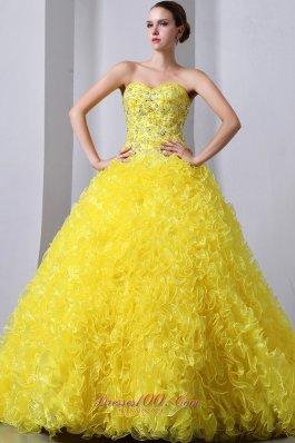 Princess Organza Yellow Beading and Ruffles Quinceanea Dress