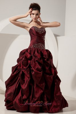 A-line Beading Taffeta Burgundy Dresses for Quinceaneras