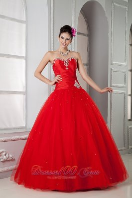 Red Ball Gown Sweet 16 Dress 2013 Tulle Beading