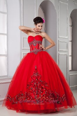 Appliques Red Ball Gown Quinceanera Dresses Gowns