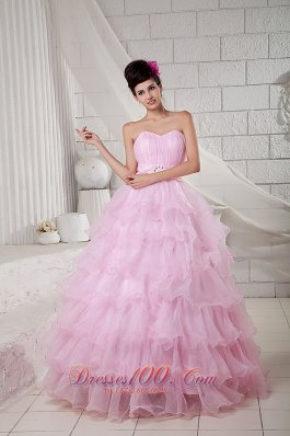 Beading and Pleated Ball Gown Baby Pink Dresses Quinceanera
