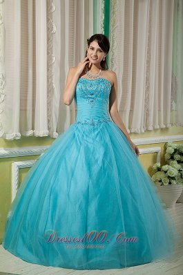 Beading Teal Ball Gown Sweetheart Dresses Of 15 Tulle
