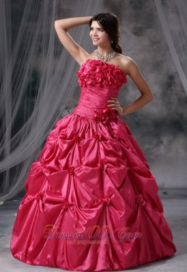 Coral Red Flowers and Pick-ups Decorate Ruch Ball Gown Dress