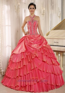Halter Watermelon Beading and Pleat Quinceanera Gown
