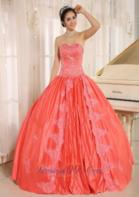 Watermelon Embroiery With Beading Quinceanera Gowns