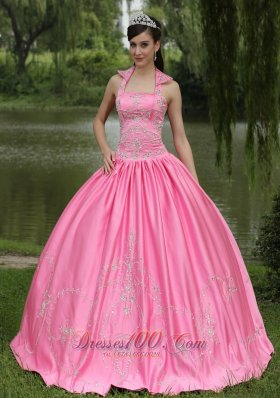 Beaded Square Rose Pink Decorate for Quincenera Dresses