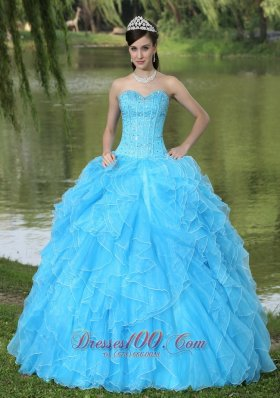 Ruffles Beaded Layered Aqua Blue Designer Quinceanera Dress