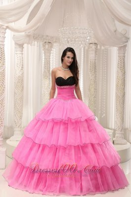 Beaded and Layers Rose Pink Sweetheart Quinceanera Dress
