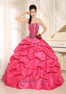 Hot Pink Beaded and Flowers Quinceanera Dress With Pick-ups