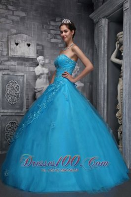 Baby Blue Dresses 15 Sweetheart Beading and Appliques