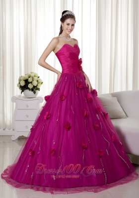 Fuchsia A-line Brush Train Tulle Flowers Dresses Quinceanera