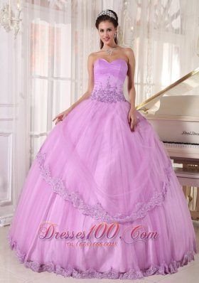 Appliques Sweetheart Modest Lavender Tulle Quinceanera