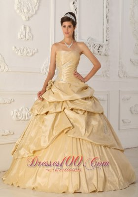 Cheap Champagne Flowers Taffeta Pick-Ups Quinceanera Dress