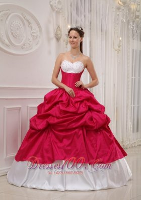 Hot Pink and White Bead Work Quinceanera Dress