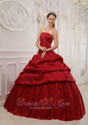 Wine Red Ruffles Taffeta Strapless Dress for Quinceanera