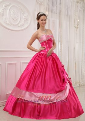 Hot Pink Sweetheart Beading Appliques Sweet 15 Dress